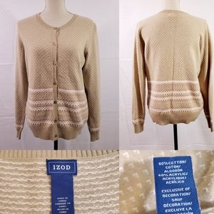 Izod Button Front Crew Neck Cardigan Sweater